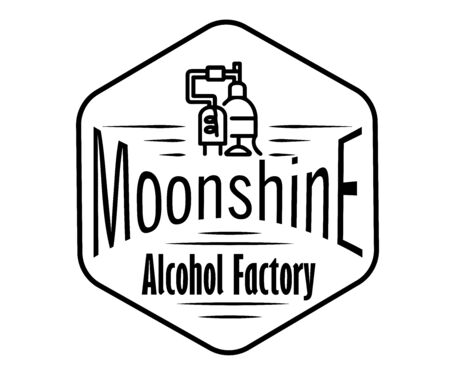 Emblem of the alcohol industry, business distillation. Hand drawn vector collection of alcoholic drinks. Set of stickers for whiskey, bourbon, moonshine and brandy. Black and white vintage label options. Monochrome,