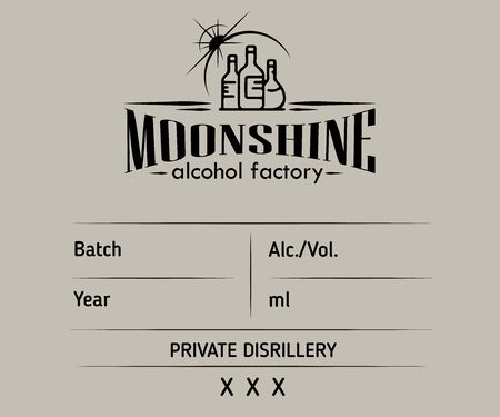 Vintage moonshine label design with ethnic elements in thin line style. Alcohol industry emblem, distilling business. Monochrome, black on white. Place for text