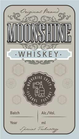 Vintage whiskey label with ethnic elements in thin line style. Alcohol industry emblem, vector design old style labels. Vintage hand drawn. Retro Typography.Vector illustration.