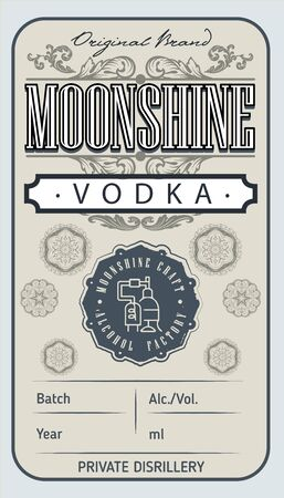 Vintage vodka label with ethnic elements in thin line style. Alcohol industry emblem, vector design old style labels. Vintage hand drawn. Retro Typography.Vector illustration.  イラスト・ベクター素材