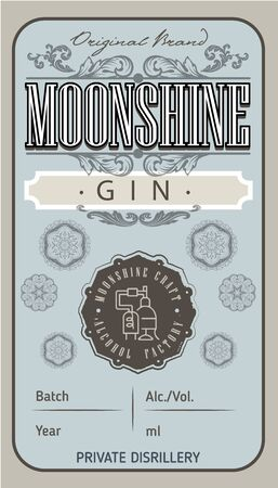 Vintage gin label with ethnic elements in thin line style. Alcohol industry emblem, vector design old style labels. Vintage hand drawn. Retro Typography.Vector illustration