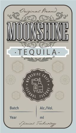 Vintage tequila label with ethnic elements in thin line style. Alcohol industry emblem, vector design old style labels. Vintage hand drawn. Retro Typography.Vector illustration.