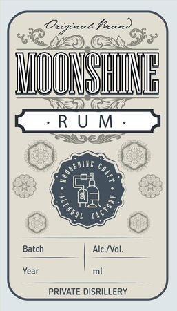 Vintage rum label with ethnic elements in thin line style. Alcohol industry emblem, vector design old style labels. Vintage hand drawn. Retro Typography.Vector illustration.  イラスト・ベクター素材