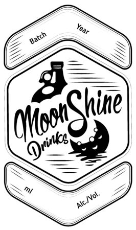 Moonshine. The best label in the city, emblem. Emblem of the alcohol industry, distillation. Monochrome, vignettes and print. Place for text. Monochrome illustration.  イラスト・ベクター素材