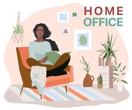 Woman Working at Home Office. Character Sitting at Desk in Room, Looking at Computer Screen and Talking with Colleagues Online. Home Office Concept. Flat Isometric Vector Illustration.