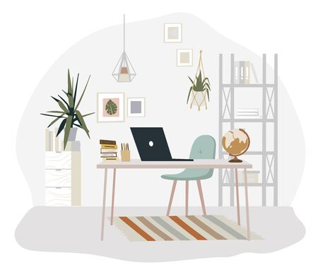 Stylish Scandic living room interior - sofa, armchair, coffee table, plants in pots, lamp, home decorations. Cozy Autumn seasone. Modern comfy apartment furnished in Hygge style, bohemian style. Vector illustratation,
