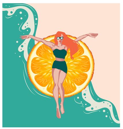 Illustration of a pool party with a cartoon red-haired girl in a swimsuit, orange summer party mood, relax, spa relaxation concept, horizontal banner, orange, summer events background, free time  イラスト・ベクター素材