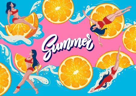 Illustration of a pool party with a sexy girl in a cartoon swimsuit in a swimsuit, an orange mood, a banner for a club's pool or a website  イラスト・ベクター素材