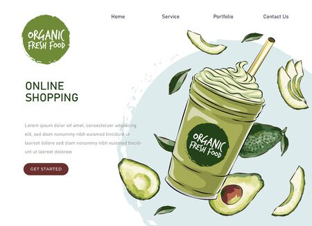 eco market avocado farm product. Vector drawing vegetables. Organic farm store. Avocado market eco landing page template, ingredients vector illustration. Eco healthy, phone app  イラスト・ベクター素材