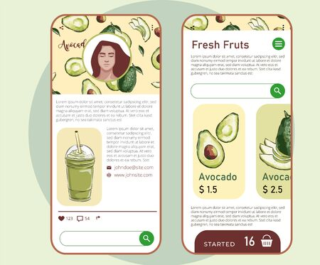Vector illustration of vegan detox smoothie. Hand drawn recipe for a healthy drink made from avocado, hand drawn recipe smoothie, phone application. Shopping apps.  イラスト・ベクター素材