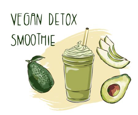 Vector illustration of vegan detox smoothie. Hand drawn recipe of healthy drink made of avocado,Hand drawn smoothie recipe, Eco healthy ingredients vector illustration. Great for poster, banner, voucher, coupon.  イラスト・ベクター素材
