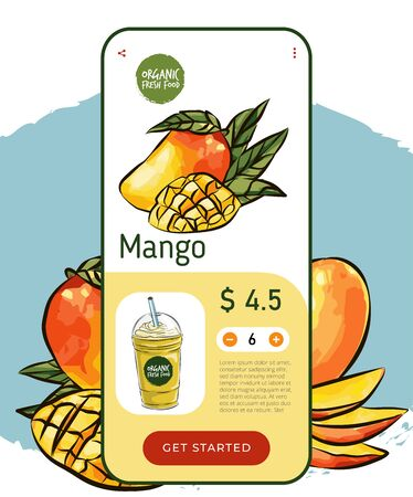 eco market Homemade mango cocktail farm product. Vector drawing vegetables. Organic farm store. Avocado market eco landing page template, ingredients vector illustration. Eco healthy, phone app
