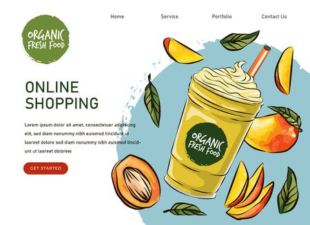 eco market Homemade mango cocktail farm product.  drawing vegetables. Organic farm store. Avocado market eco landing page template, ingredients illustration. Eco healthy, phone app
