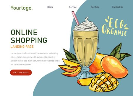 eco market Homemade mango cocktail farm product. Vector drawing vegetables. Organic farm store. Avocado market eco landing page template, ingredients illustration. Eco healthy, phone app