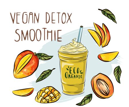 illustration of vegan detox smoothie. Hand drawn recipe of a healthy drink made of mango, hand drawn smoothie recipe, Eco healthy ingredients illustration. Great for poster, banner, voucher, coupon. Isolated on white.