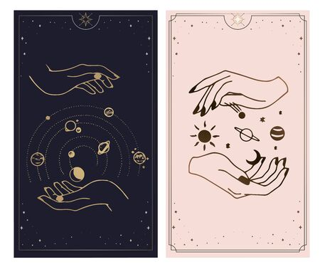 Cosmos tarot cards are created by the hands of God. Hands are set in a simple flat esoteric Boho style. esoteric collection of icons with various symbols such as a planetary cosmic star, gold and pink and pink cards  イラスト・ベクター素材