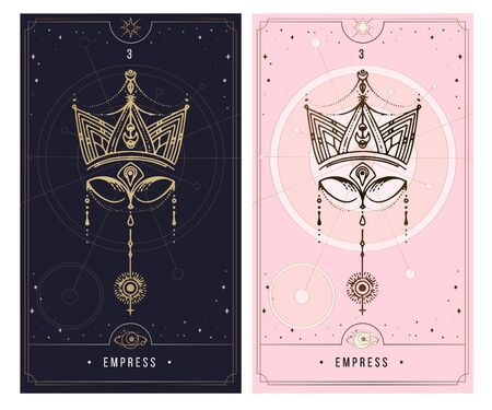 MAJOR ARCANA. Minor Arcana secret card, black with gold and silver card, pink with gold, illustration with mystical symbols.