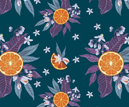 Seamless citrus pattern with herbal ingredients. Hand drawn vector illustration with herbal illustrations. Template for print, fabric, wallpaper cover and box design.