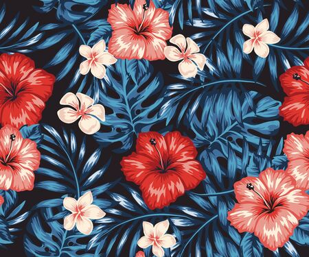 Tropical vibrant patterns, palm leaves and exotic flowers on a bright background. Ornamental garden plants. Green summer tropical background with exotic palm leaves and hibiscus flowers.