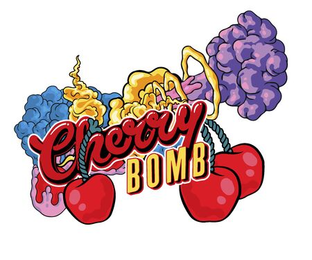 "sticker Tattoo design of two cherries and the inscription ""cherry bomb"", hand-drawn comic book style cartoon flaming cherries, Vector hand drawn illustration design. on white background"