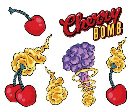 """sticker Tattoo design of two cherries and the inscription """"cherry bomb"""", hand-drawn comic book style cartoon flaming cherries, Vector hand drawn illustration design. on white background"""