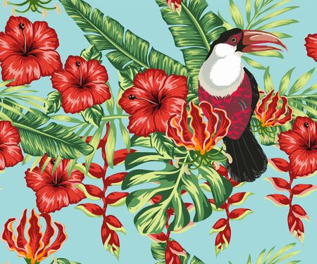 Beautiful seamless vector floral summer pattern background with toucan, palm leaves, hibiscus, plumeria. Ideal for wallpapers, background web pages, surface textures, textiles. Vettoriali