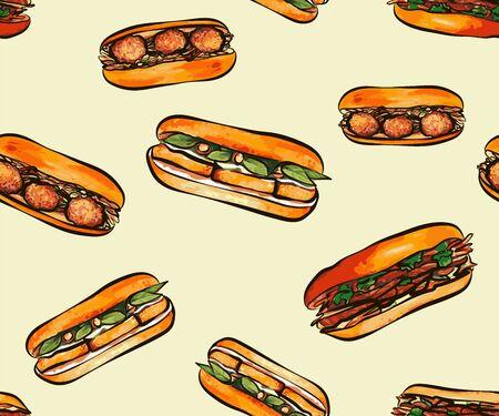 Takeaway banh mi seamless pattern background. Vietnamese style of sandwich. Hand drawn Asian food, Vietnamese street food background. Great for wallpaper, menu design. the background for the design of the menu of the restaurant of Vietnamese food