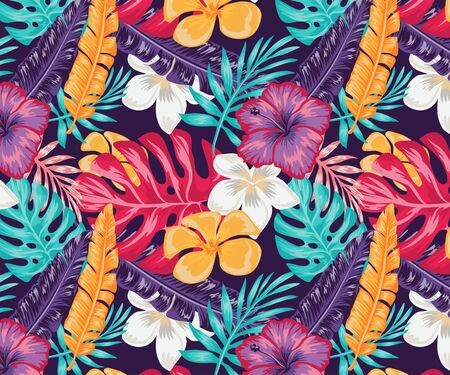 Trend seamless pattern with colorful tropical leaves and plants on a blue background. Vector design print of the jungle. Floral background. Printing and textile. Exotic tropics. Fresh design. Ilustración de vector