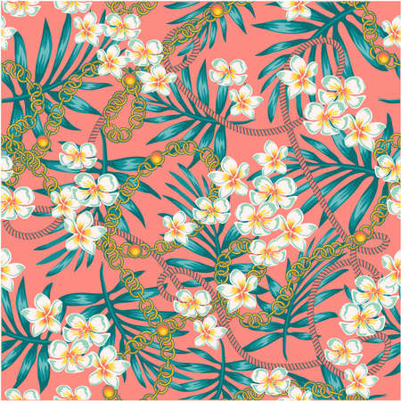 in living coral color and turquoise seamless pattern with chains, Luxurious elegant pattern with trendy 80s splendor tropical flowers and palm leaves fashion accessories, in living coral color and turquoise seamless pattern with chains