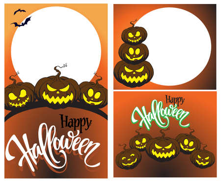 Halloween pumpkin with funny scary faces, social media storytelling and posting template, Advertising mockup. Set of stories and post frames. space for letters