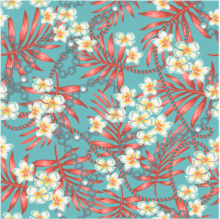 Luxurious elegant pattern with trendy 80s splendor tropical flowers and palm leaves fashion accessories, in living coral color and turquoise seamless pattern with chains
