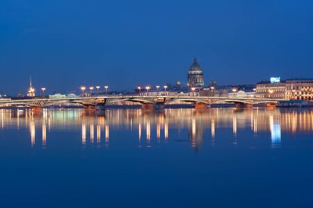 Night view from the Neva river to St  Isaac s Cathedral, Russia Stock Photo - 17804472