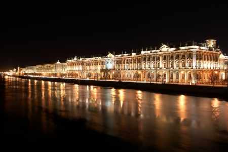 Night View of St  Petersburg  Winter Palace from Neva River photo