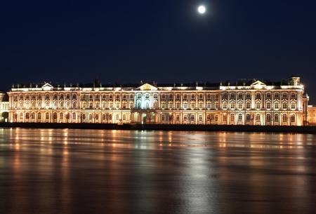Night View of St  Petersburg  Winter Palace from Neva River