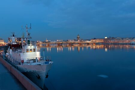Evening view from the Neva river to St  Isaac