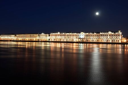 Night View of St  Petersburg  Winter Palace from the Neva River with the light of the moon, Russia photo