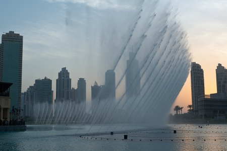 Dubai Fountain - the musical fountain, located in an artificial lake in an area of over 12 hectares photo
