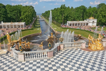 St. Petersburg, Russia - June 3: Grand Cascade of Peterhof is one of the largest gushing constructions of the world. It is located at the foot of the central part of the northern facade of the Grand Palace and is an integral part of it. June 3, 2013.