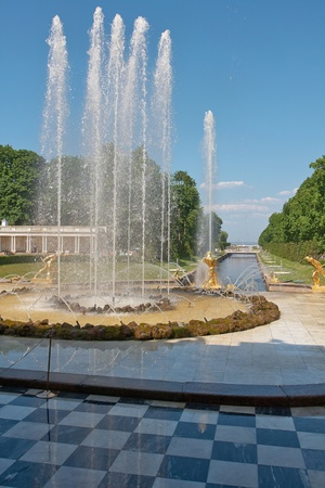 St. Petersburg, Russia - June 3: Grand Cascade of Peterhof is one of the largest gushing constructions of the world. It is located at the foot of the central part of the northern facade of the Grand Palace and is an integral part of it. June 3, 2013. Editorial