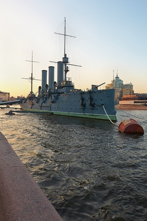 St. Petersburg, Russia - June 4: Aurora is a 1900 Russian protected cruiser, currently preserved as a museum ship in St. Petersburg. June 4, 2013. Editorial