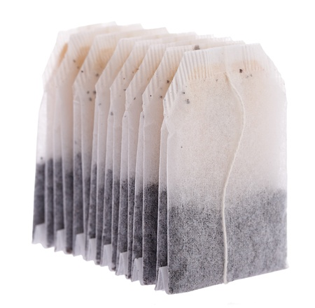 Teabag with label, isolated on white background