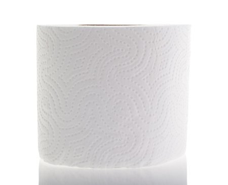 White toilet paper on a white background, isolated photo