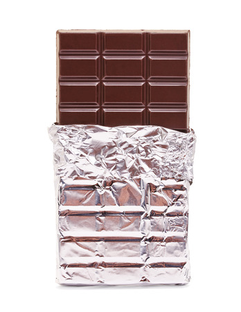 chocolate bar with open cover on white Stock Photo