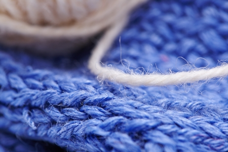 blue yarn with a needle photo