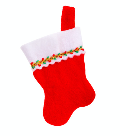Christmas sock on a white background, isolated