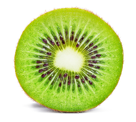 Slice of fresh kiwi fruit isolated on white background Фото со стока