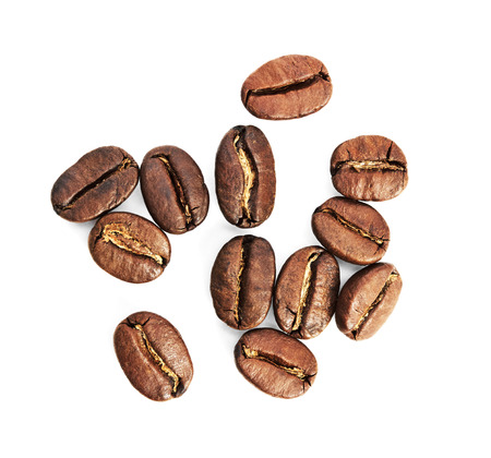 Brown coffee beans isolated on white background Stock Photo