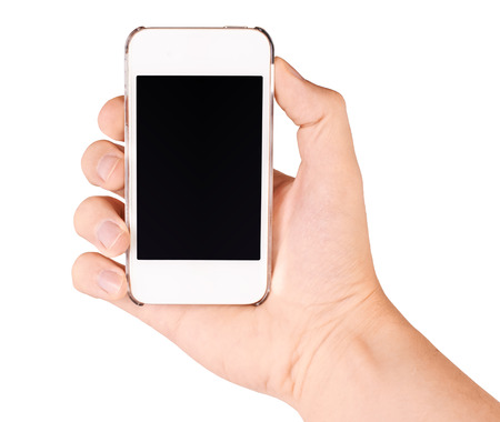 Hand holding mobile smart phone with blank screen, isolated on white Stock Photo