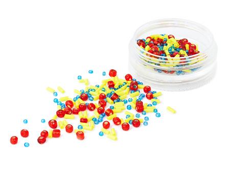 Colorful beads isolated on white background, macro Stock Photo