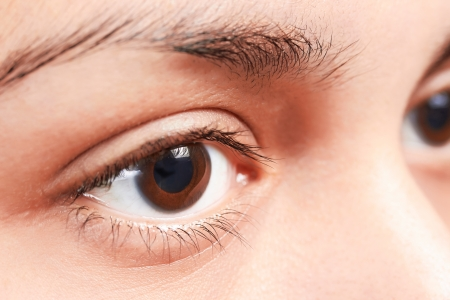 Beautiful brown eyes of young girl, close-up